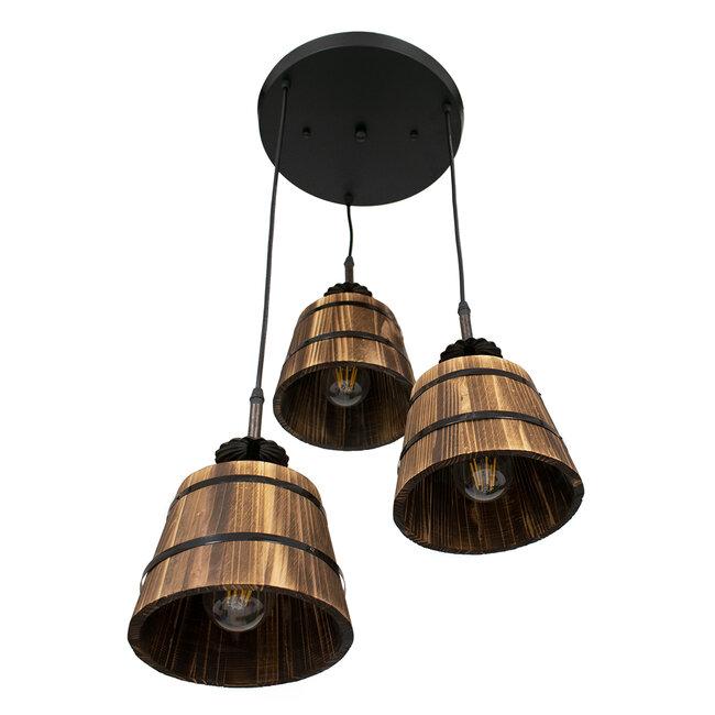 CEBU 00888 ΣΕΤ Vintage Κρεμαστό Φωτιστικό Οροφής Τρίφωτο Μεταλλικό Ξύλινο Φ40 x Y210cm - 5