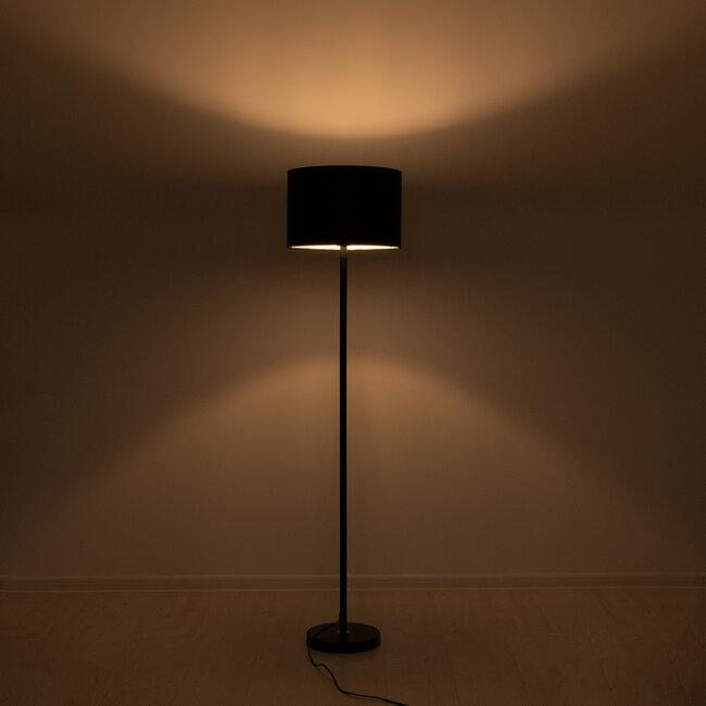 GloboStar® ASHLEY 00822 Μοντέρνο Φωτιστικό Δαπέδου Μονόφωτο Μεταλλικό Μαύρο με Καπέλο Φ35 x Υ145cm - 3