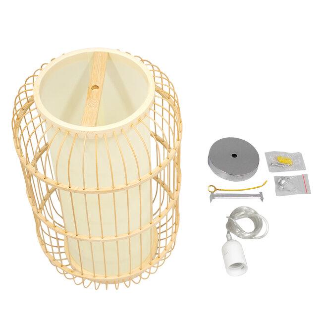 DE PARIS 00893 Vintage Κρεμαστό Φωτιστικό Οροφής Μονόφωτο Μπεζ Ξύλινο Bamboo Φ25 x Υ42cm - 7