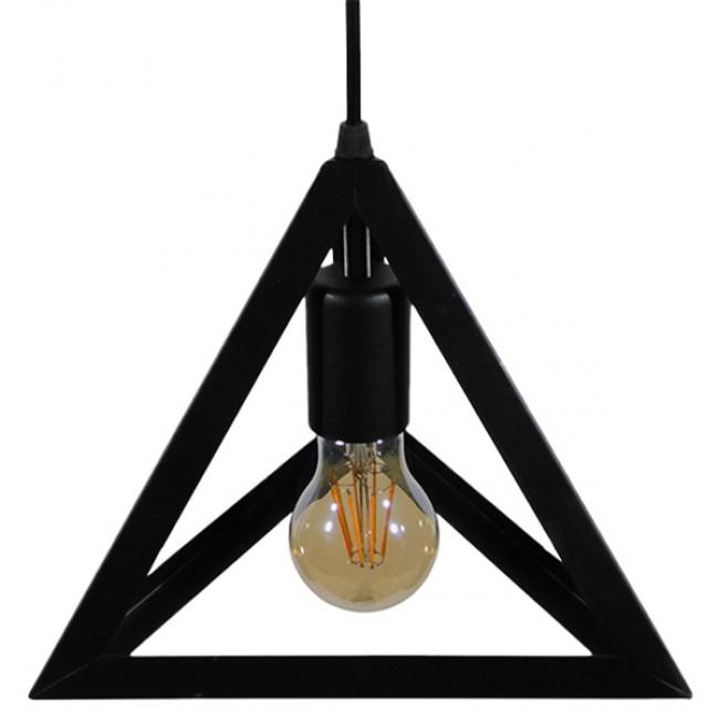 Μοντέρνο Κρεμαστό Φωτιστικό Οροφής Μονόφωτο Μαύρο Μεταλλικό Πλέγμα Φ25 GloboStar TRIANGLE 01063 - 3