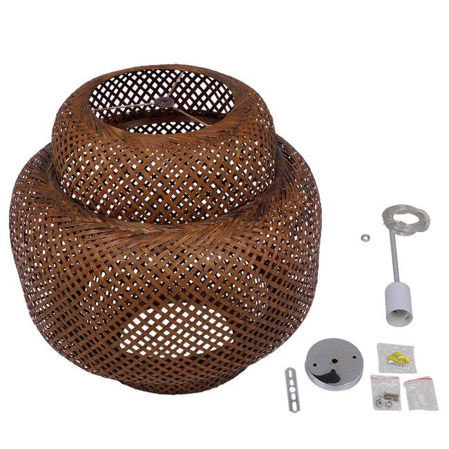 Vintage Κρεμαστό Φωτιστικό Οροφής Μονόφωτο Καφέ Σκούρο Ξύλινο Bamboo Φ56  MALVIDES DARK BROWN 01658 - 9
