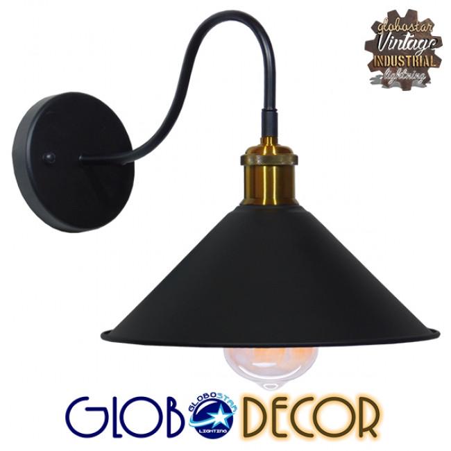 Vintage Φωτιστικό Τοίχου Απλίκα Μονόφωτο Μαύρο Μεταλλικό με Καπέλο Φ26 GloboStar ANBET 01121 - 7