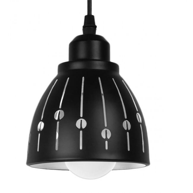 Μοντέρνο Κρεμαστό Φωτιστικό Οροφής Μονόφωτο Μεταλλικό Μαύρο Λευκό Καμπάνα Φ13 GloboStar HUNTON 01476