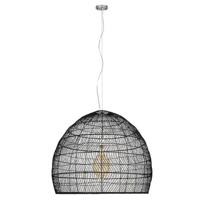 GloboStar® MALIBU 00966 Vintage Κρεμαστό Φωτιστικό Οροφής Μονόφωτο Μαύρο Ξύλινο Bamboo Φ97 x Y86cm - 3