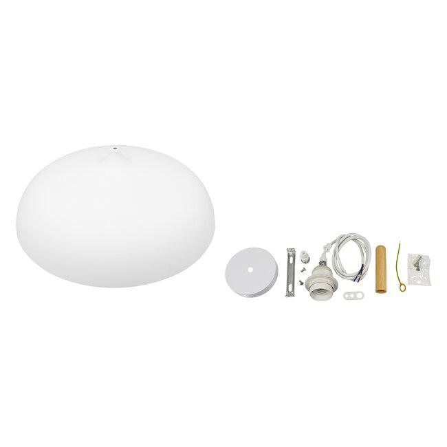 GloboStar® ZOE 00837 Μοντέρνο Κρεμαστό Φωτιστικό Οροφής Μονόφωτο Λευκό Μεταλλικό Καμπάνα Φ60 x Υ35cm - 6