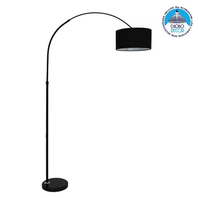 Μοντέρνο Φωτιστικό Δαπέδου Μονόφωτο Μεταλλικό Μαύρο με Καπέλο Φ34 GloboStar IMPERIAL BLACK 01587 - 1