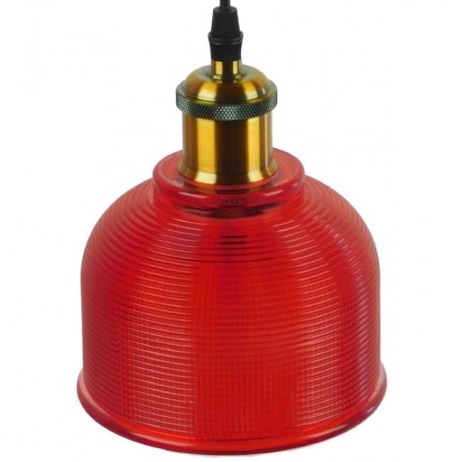 Vintage Κρεμαστό Φωτιστικό Οροφής Μονόφωτο Κόκκινο Γυάλινο Διάφανο Καμπάνα με Χρυσό Ντουί Φ14  SEGRETO RED 01450 - 4