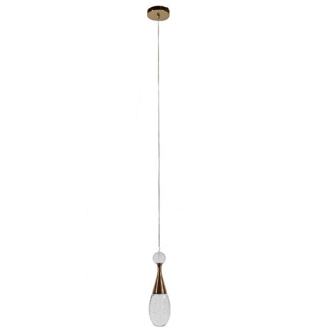 Μοντέρνο Κρεμαστό Φωτιστικό Οροφής Μονόφωτο LED Χάλκινο με Φυσητό Γυαλί  JADORE 01232 - 2