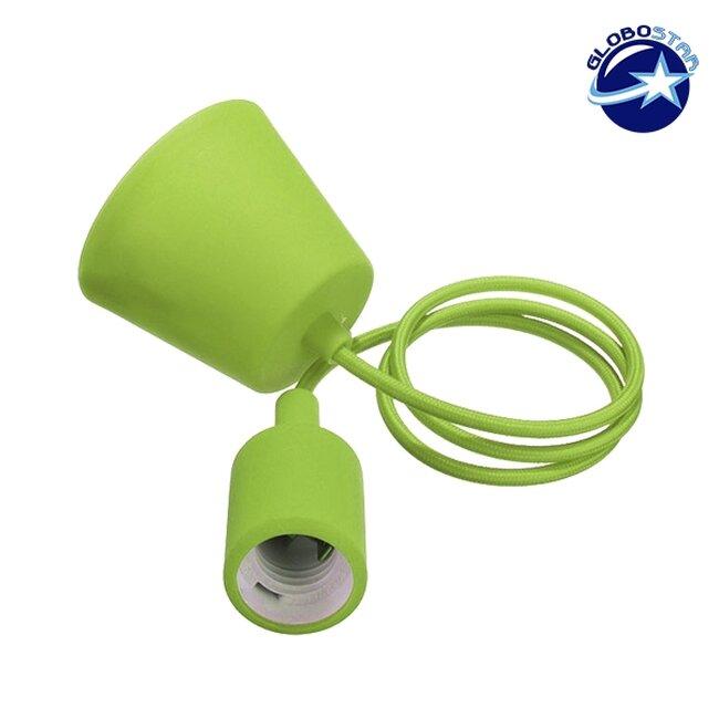 Λαχανί Κρεμαστό Φωτιστικό Οροφής Σιλικόνης με Υφασμάτινο Καλώδιο 1 Μέτρο E27  Light Green 91008 - 1