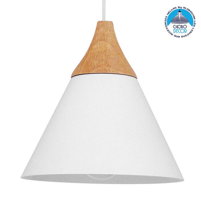 Μοντέρνο Κρεμαστό Φωτιστικό Οροφής Μονόφωτο Λευκό Μεταλλικό με Ξύλο Καμπάνα Φ23  SHADE WHITE 00907 - 1