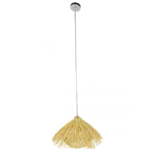 Vintage Κρεμαστό Φωτιστικό Οροφής Μονόφωτο Μπεζ Ξύλινο Ψάθινο Rattan Φ50 GloboStar CHEOPE 01599 - 2