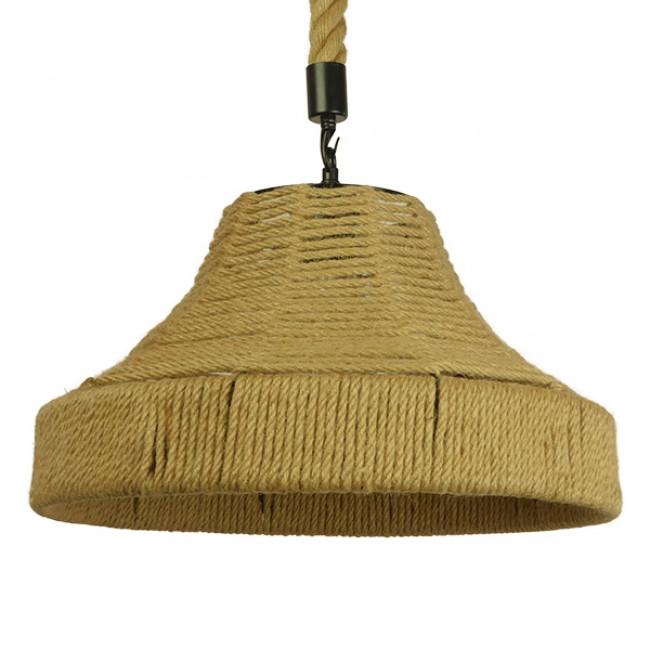 Vintage Κρεμαστό Φωτιστικό Οροφής Μονόφωτο Καμπάνα με Μπεζ Σχοινί Φ41 GloboStar DOGMA 01609 - 1
