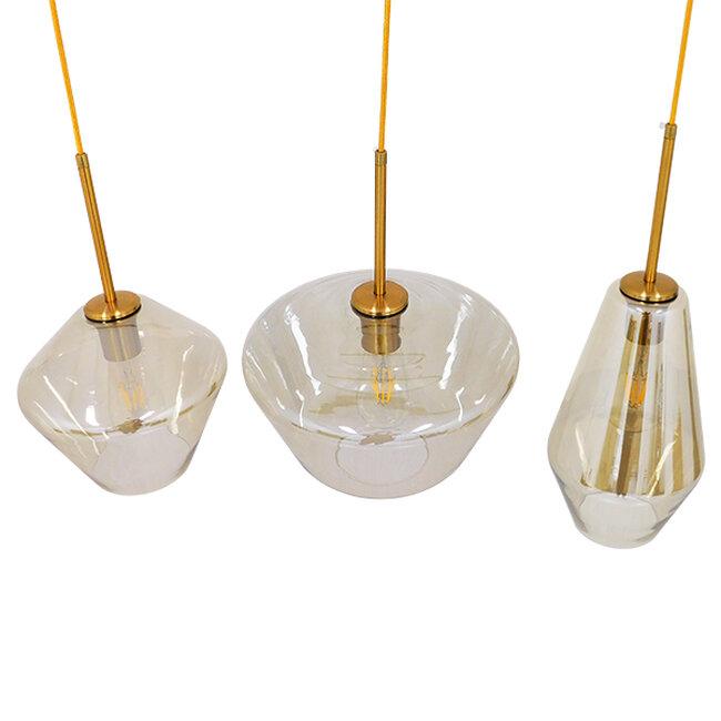 Μοντέρνο Κρεμαστό Φωτιστικό Οροφής Τρίφωτο Μελί Χρυσό με Γυαλί  KETALIN 00977 - 3