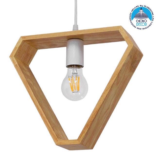 Μοντέρνο Κρεμαστό Φωτιστικό Οροφής Μονόφωτο Μπεζ Ξύλινο Δρυς  ELISE TRIANGLE 01430 - 1