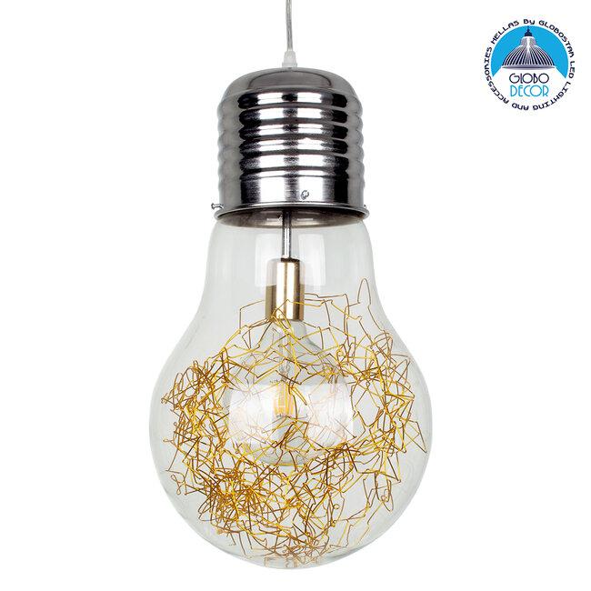 LAMP 00808 Μοντέρνο Κρεμαστό Φωτιστικό Οροφής Μονόφωτο Ασημί Νίκελ Βάση και Χρυσό Ντουί Μεταλλικό Διάφανο Γυαλί Φ30 x Υ52cm - 1