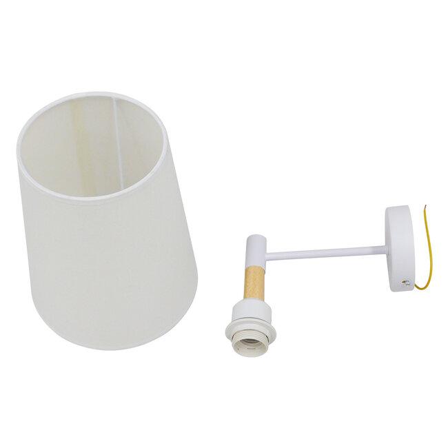 Μοντέρνο Φωτιστικό Τοίχου Απλίκα Μονόφωτο Λευκό με Μπέζ Ξύλο Μεταλλικό Φ20  LYDFORD WHITE 01433 - 17