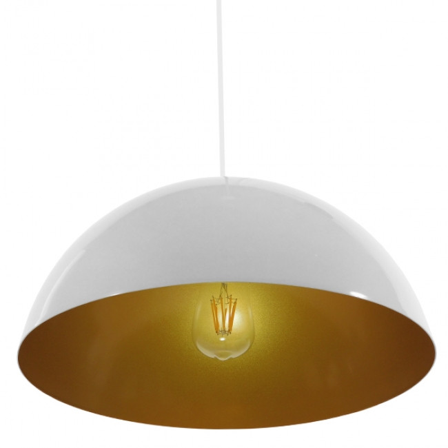 Μοντέρνο Κρεμαστό Φωτιστικό Οροφής Μονόφωτο Λευκό Χρυσό Μεταλλικό Καμπάνα Φ40  LUNE 01339 - 5