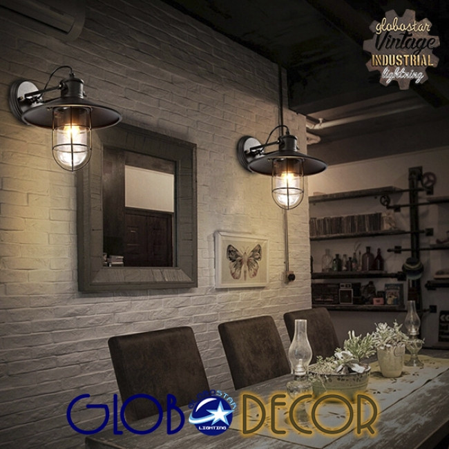 Vintage Industrial Φωτιστικό Τοίχου Απλίκα Μονόφωτο Μαύρο Μεταλλικό Πλέγμα με Καμπάνα Φ27 GloboStar CELL 01118 - 9