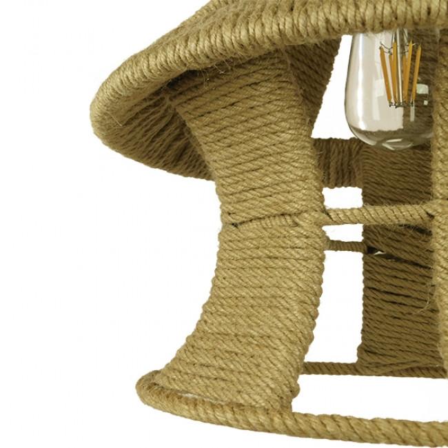 Vintage Κρεμαστό Φωτιστικό Οροφής Μονόφωτο Μπεζ Καμπάνα με Σχοινί Φ36 GloboStar SOLITARIO 01606 - 10