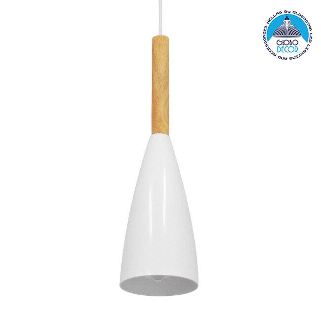 Μοντέρνο Κρεμαστό Φωτιστικό Οροφής Μονόφωτο Λευκό Μεταλλικό Καμπάνα Φ11  DILLON WHITE 00876 - 1