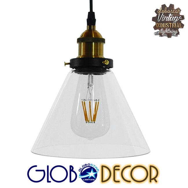 Vintage Κρεμαστό Φωτιστικό Οροφής Μονόφωτο Γυάλινο Καμπάνα Φ18  CONE 01169 - 1