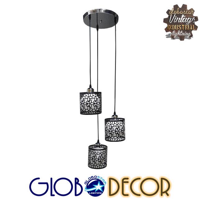 Μοντέρνο Κρεμαστό Φωτιστικό Οροφής Τρίφωτο Μαύρο Μεταλλικό Πλέγμα με Λευκό Γυαλί Φ40 GloboStar RAINELDA 01246 - 4