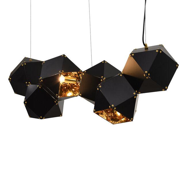WELLES Replica 00797 Μοντέρνο Κρεμαστό Φωτιστικό Οροφής Πολύφωτο Μεταλλικό Μαύρο Χρυσό Μ98 x Π32 x Υ30cm - 4