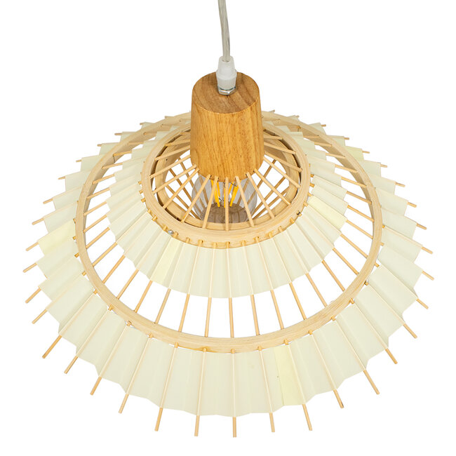 VENTALIA 00897 Vintage Κρεμαστό Φωτιστικό Οροφής Μονόφωτο Μπεζ Ξύλινο Bamboo Φ40 x Y22cm - 6