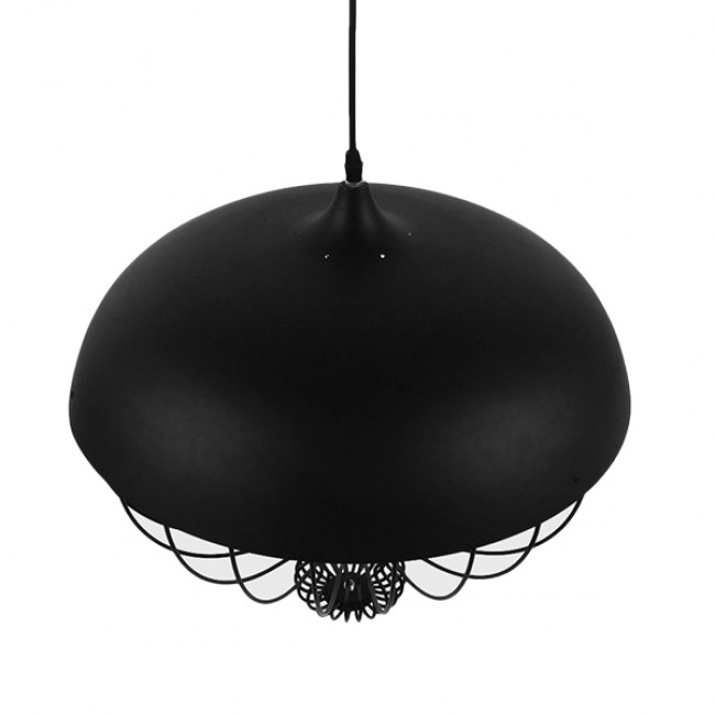 Vintage Κρεμαστό Φωτιστικό Οροφής Μονόφωτο Μαύρο Μεταλλικό Πλέγμα Φ46 GloboStar SOBRINO 01108 - 7