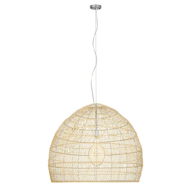 GloboStar® MALIBU 00974 Vintage Κρεμαστό Φωτιστικό Οροφής Μονόφωτο Μπεζ Ξύλινο Bamboo Φ97 x Y86cm - 3