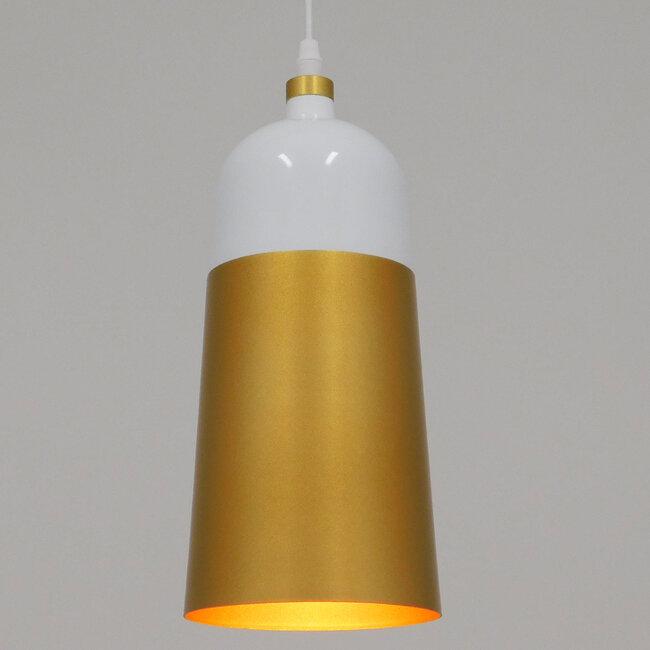 Μοντέρνο Κρεμαστό Φωτιστικό Οροφής Μονόφωτο Λευκό - Χρυσό Μεταλλικό Καμπάνα Φ14  PALAZZO GOLD WHITE 01524 - 3