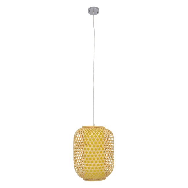 Vintage Κρεμαστό Φωτιστικό Οροφής Μονόφωτο Καφέ Ξύλινο Bamboo Φ30  MAURITIUS Φ30 00899 - 4