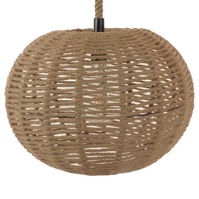 Vintage Κρεμαστό Φωτιστικό Οροφής Μονόφωτο Πλέγμα με Μπεζ Σχοινί Φ42 GloboStar CAPRI 01331 - 3