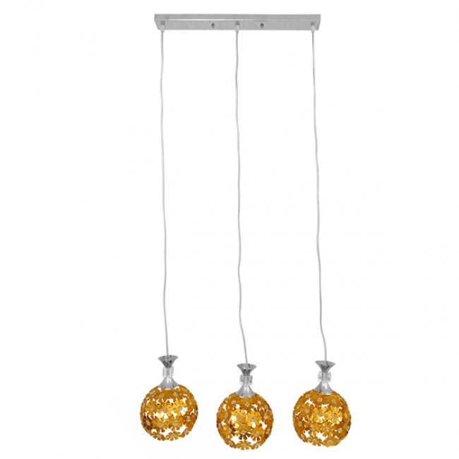 Μοντέρνο Κρεμαστό Φωτιστικό Οροφής Τρίφωτο Χρυσό Μεταλλικό με Κρύσταλλα GloboStar MARGARO 01671 - 2
