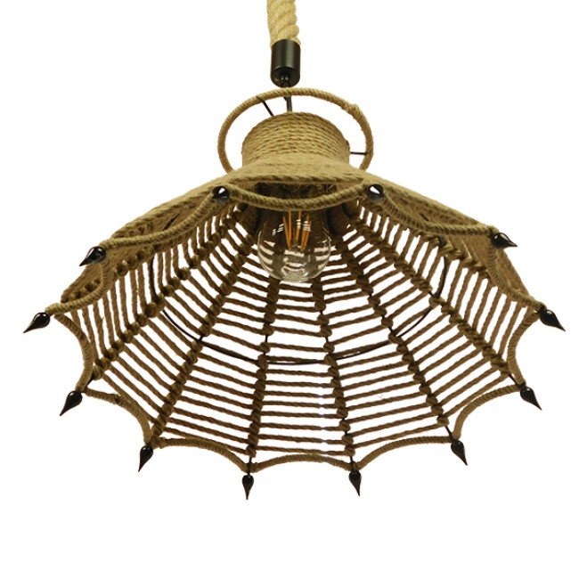 Vintage Κρεμαστό Φωτιστικό Οροφής Μονόφωτο Μπεζ Καμπάνα με Σχοινί Φ41  OZERO 01603 - 5