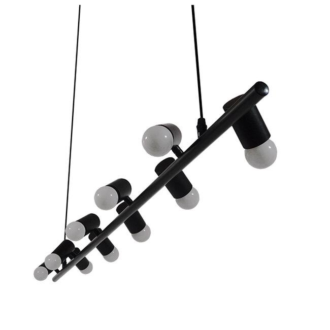 Μοντέρνο Κρεμαστό Φωτιστικό Οροφής Πολύφωτο Μαύρο Μεταλλικό Ράγα GloboStar ALFREDA 01242 - 7