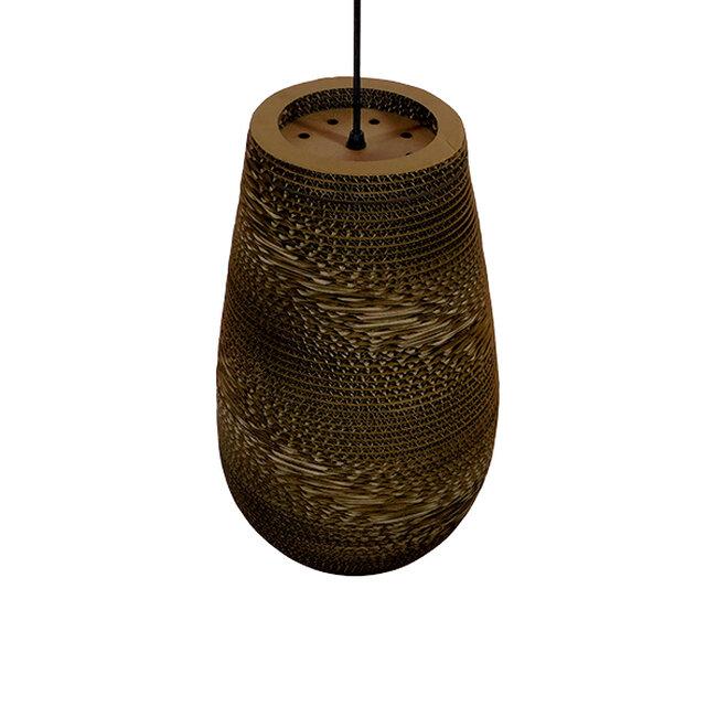 Vintage Κρεμαστό Φωτιστικό Οροφής Μονόφωτο 3D από Επεξεργασμένο Σκληρό Καφέ Χαρτόνι Καμπάνα Φ25  IKARIA 01294 - 5