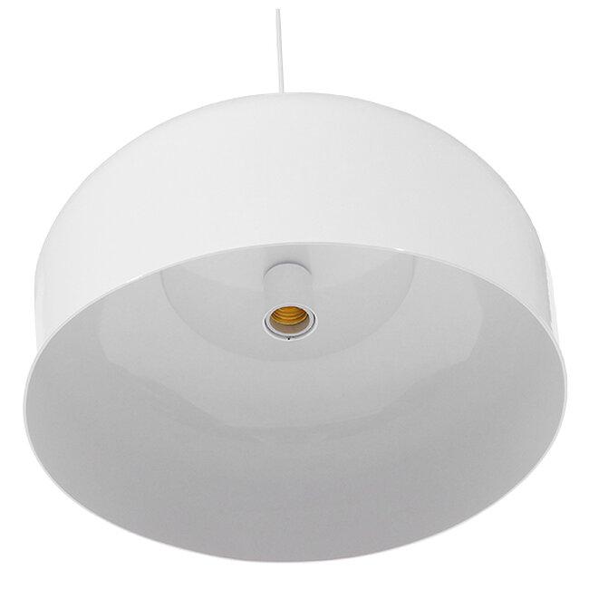 Μοντέρνο Κρεμαστό Φωτιστικό Οροφής Μονόφωτο Λευκό Μεταλλικό Καμπάνα Φ35  VILI WHITE 01260 - 5
