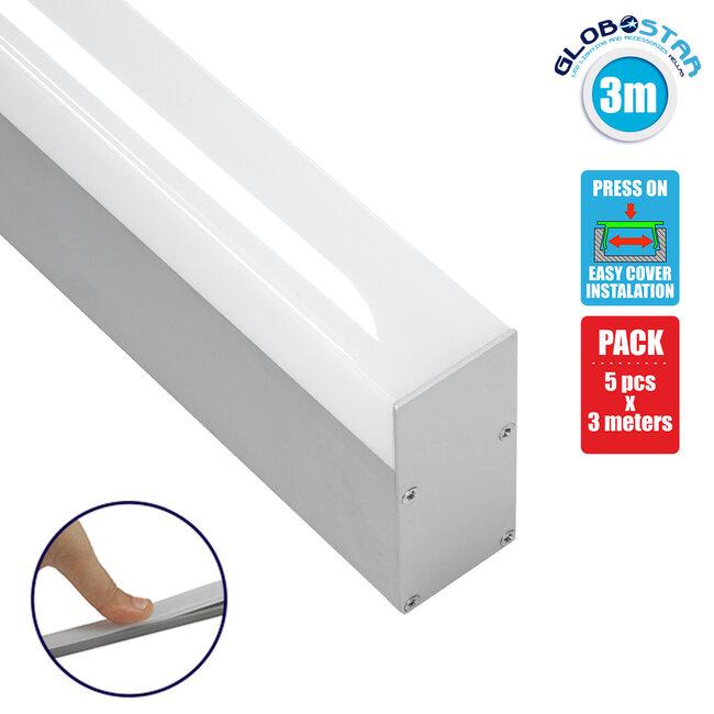 70830-3M BABYLON Linear Γραμμικό Αρχιτεκτονικό Προφίλ Αλουμινίου Ανοδιωμένο με Λευκό Οπάλ Κάλυμμα για 2 Σειρές Ταινίας LED Πατητό - Press On 3 Μέτρων