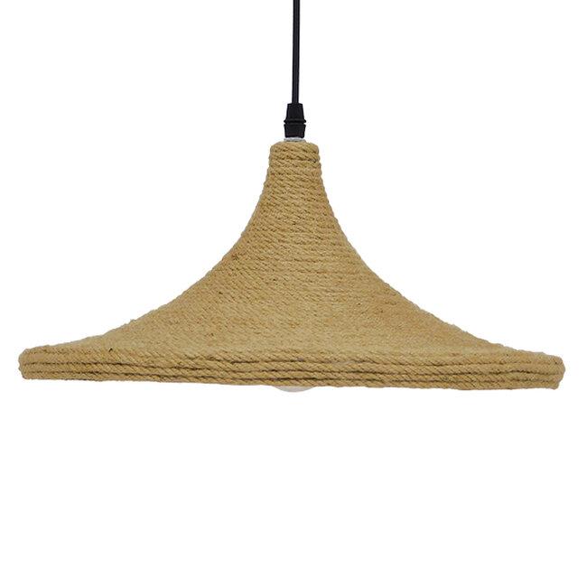 Vintage Κρεμαστό Φωτιστικό Οροφής Μονόφωτο με Μπεζ Σχοινί Καμπάνα  BEIJING Φ37 00917 - 4