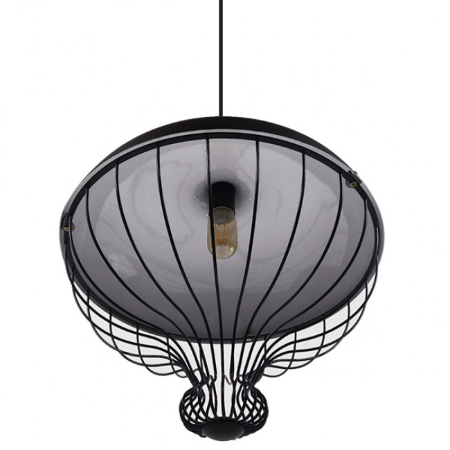 Vintage Κρεμαστό Φωτιστικό Οροφής Μονόφωτο Μαύρο Μεταλλικό Πλέγμα Φ46 GloboStar SOBRINO 01108 - 5