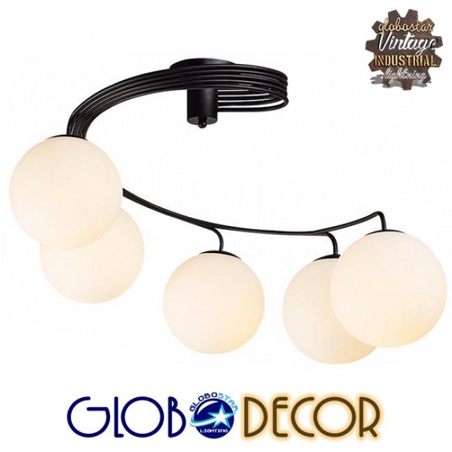 Μοντέρνο Φωτιστικό Οροφής Πολύφωτο Μαύρο Μεταλλικό με Λευκό Γυαλί Φ63  SELINA 01090 - 3
