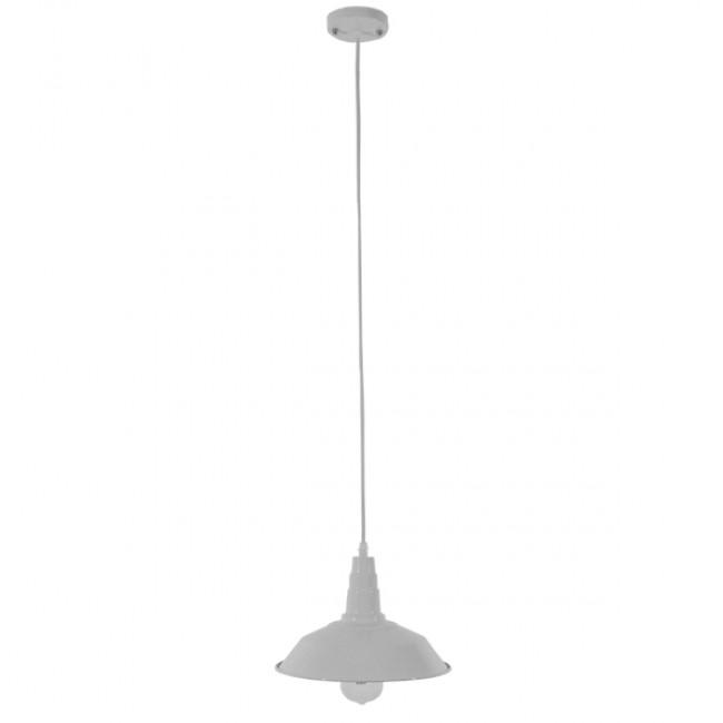 Vintage Industrial Κρεμαστό Φωτιστικό Οροφής Μονόφωτο Λευκό Μεταλλικό Καμπάνα Φ26 GloboStar RAY WHITE 01044 - 2
