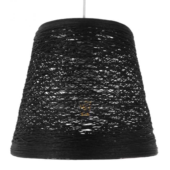 Vintage Κρεμαστό Φωτιστικό Οροφής Μονόφωτο Μαύρο Ξύλινο Ψάθινο Rattan Φ32 GloboStar ALMA 01563 - 3