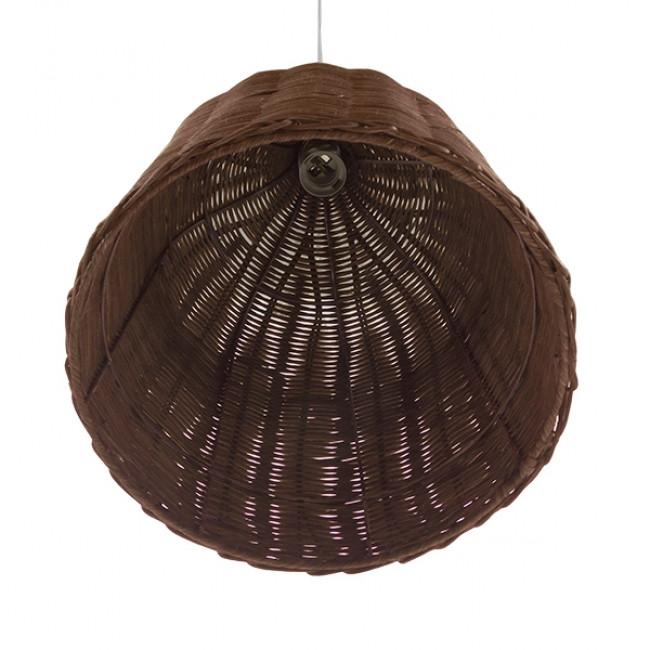 Vintage Κρεμαστό Φωτιστικό Οροφής Μονόφωτο Καφέ Σκούρο Ξύλινο Ψάθινο Rattan Φ30 GloboStar NELLY 01367 - 5