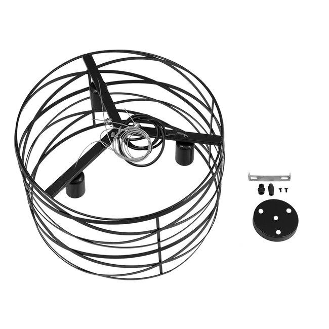 TOKEN 00855 Μοντέρνο Industrial Κρεμαστό Φωτιστικό Οροφής Τρίφωτο Μαύρο Μεταλλικό Πλέγμα Φ43 x Υ29cm - 9