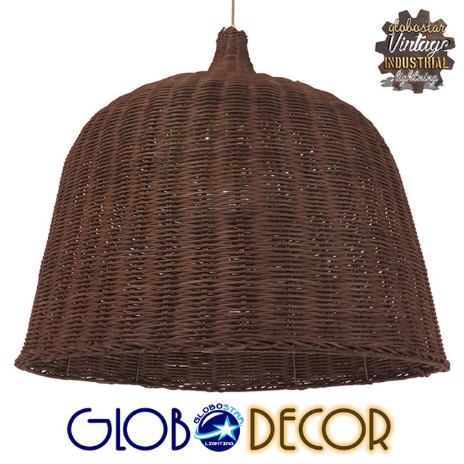 Vintage Κρεμαστό Φωτιστικό Οροφής Μονόφωτο Καφέ Ξύλινο Ψάθινο Rattan Φ60  ARGENTO 01369 - 1