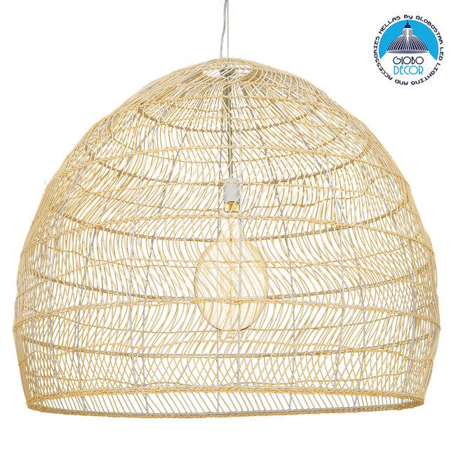 GloboStar® MALIBU 00974 Vintage Κρεμαστό Φωτιστικό Οροφής Μονόφωτο Μπεζ Ξύλινο Bamboo Φ97 x Y86cm - 1