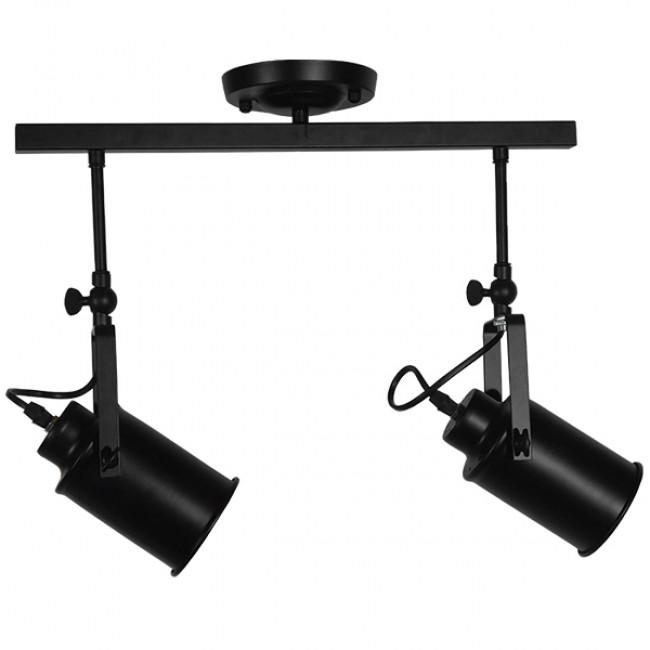Vintage Φωτιστικό Οροφής Δίφωτο Μαύρο Μεταλλικό Ράγα GloboStar HOLLYWOOD 01154 - 3