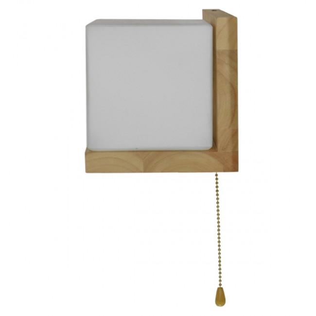 Μοντέρνο Φωτιστικό Τοίχου Απλίκα Ραφάκι Μονόφωτο Ξύλινο με Λευκό Ματ Γυαλί GloboStar AMITY RIGHT 01366 - 9
